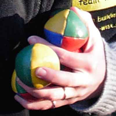 colourful juggling balls for team building